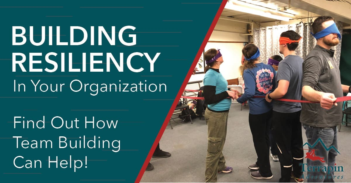 """The image reads """"Building Resiliency in Your Organization: Find out how team building can help."""" There is an image of multiple people blindfolded and tied together."""