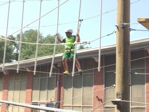 Boy on Terrapin Explorer Ropes Course