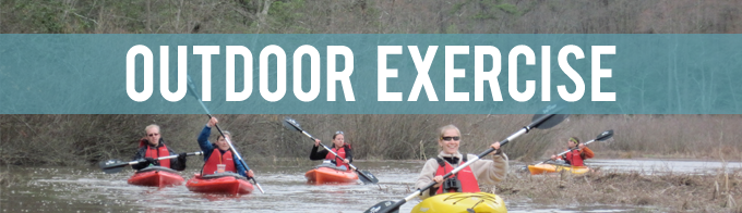 Group of people kayaking with the words Outdoor Exercise written across