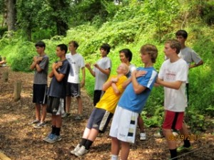 Students Develop Trusting Relationships while team building